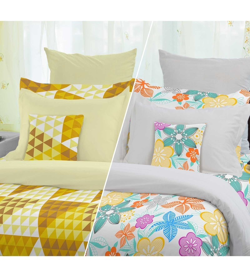 Multicolour 100% Cotton Snapshot Double Bed Sheet Set by Welhome