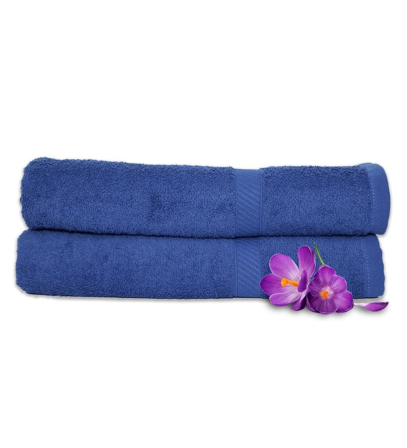 Sapphire 100% Cotton 28 x 55 Inch Snapshot Towels - Set of 2 by Welhome