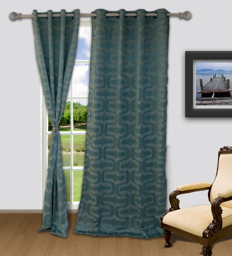 Welhome Turquoise Polyester 48 x 84 Inch Snapshot Streak Door Curtain
