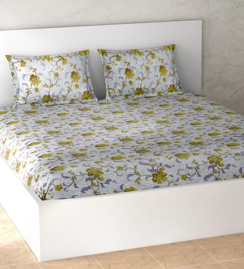 Welhome Yellow 100% Cotton Essential Double Bed Sheet Set