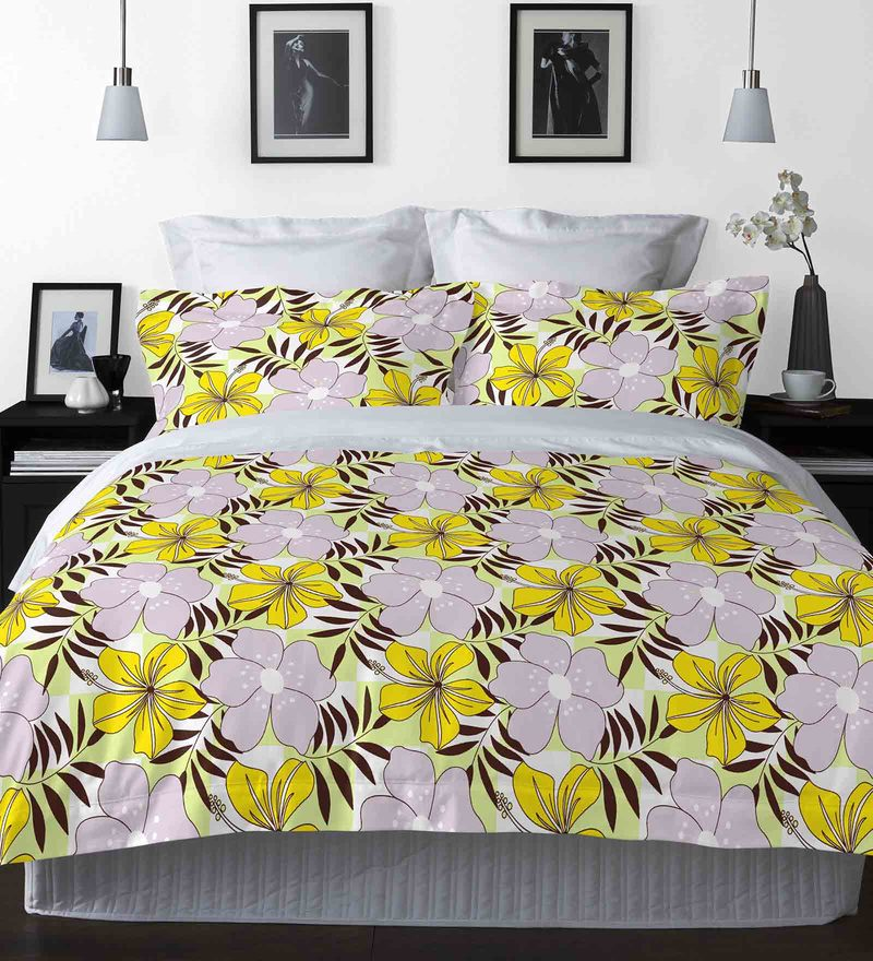 Yellow Cotton La-Piazza Bed Sheet Set by Welhome