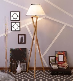 White & Black Cotton Floor Lamp - 1630985