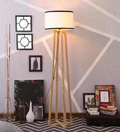 White & Black Cotton Floor Lamp - 1630944