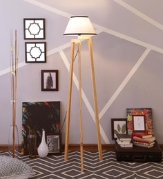 White & Black Cotton Floor Lamp - 1630930