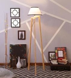 White & Black Cotton Floor Lamp - 1630930