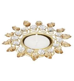 White & Gold Stone Metal Tea Light Candle Holder - 1643542