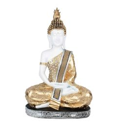 White And Gold Polyresin Sitting Buddha Statue Decor Showpiece Gift Statue