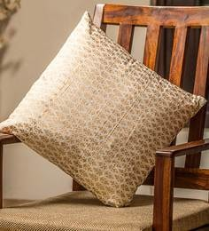 White And Golden 100% Cotton 16 X 16 Inch Cushion Covers - Set Of 4 - 1635981