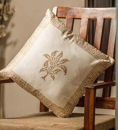 White And Golden 100% Cotton 16 X 16 Inch Cushion Covers - Set Of 4 - 1635976