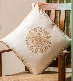 White And Golden 100% Cotton 16 X 16 Inch Cushion Covers - Set Of 6