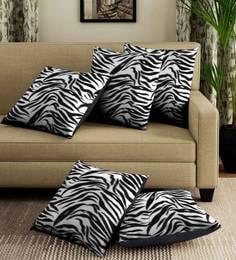 White/Black Velvet Leopard Digital Print Set Of 5 Cushion Covers