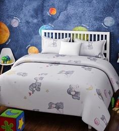 White Cotton Single Size Baby Elephant Kids Bedsheet   Set Of 2 ...