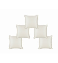 White Dupion Silk 12 X 12 Inch Cushion Covers - Set Of 5