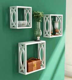 White Engineered Wood Cube Wall Shelves - Set Of 3 By Home Sparkle