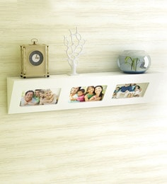 White Engineered Wood Photo Frame Wall Shelf By Home Sparkle