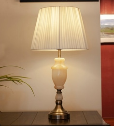 White Glass & Mild Steel Foteini Table Lamp