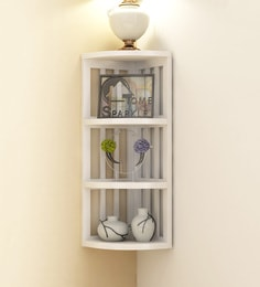 White Mango Wood Stripes Corner Shelf By Home Sparkle