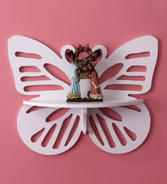 White MDF Decorative Butterfly Wall Shelf