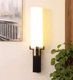 White Metal & Glass Wall Mounted Light