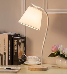 White Metal And Wood Table Lamps