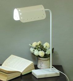 White Metal Bennet  Table Lamp