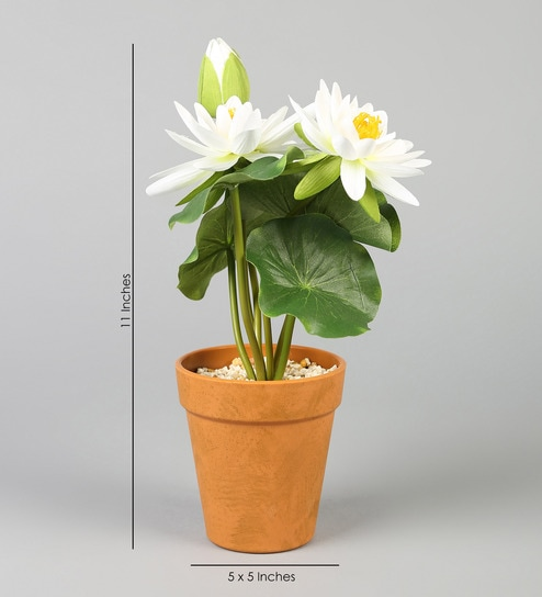 Buy White Pp Pvc Artificial Lotus Flower With Pot By Wonderland