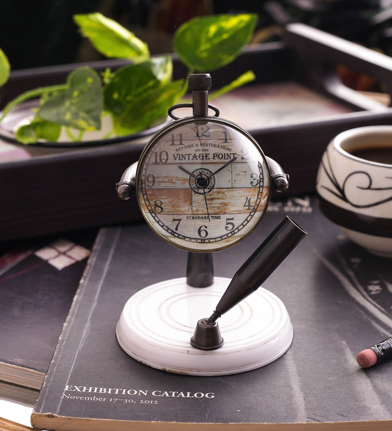 White & Brown Brass & Acrylic Table Clock With Pen Holder