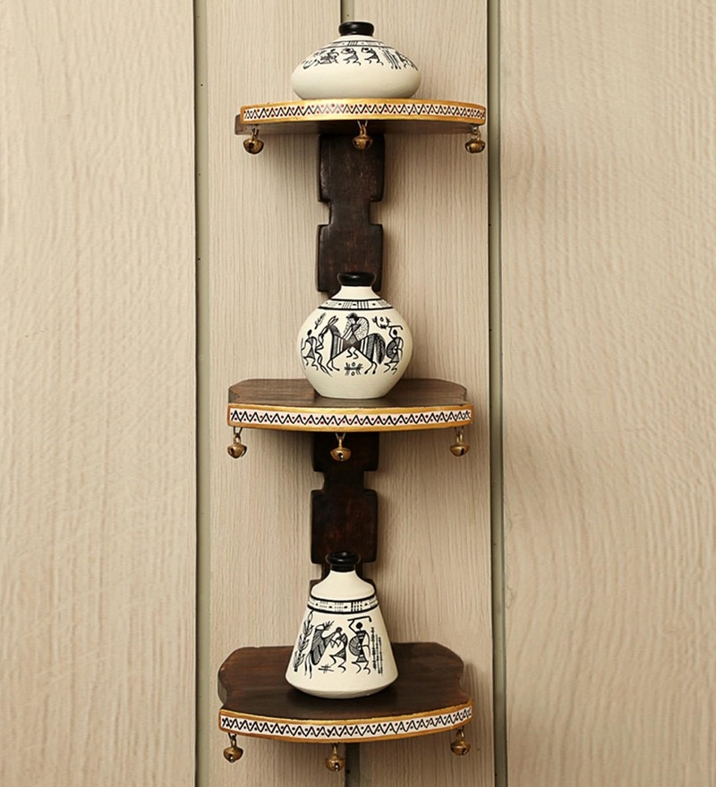 White & Brown Mango Wood & Terracotta Warli Handpainted Pots Wall Shelve - Set of 4 by ExclusiveLane