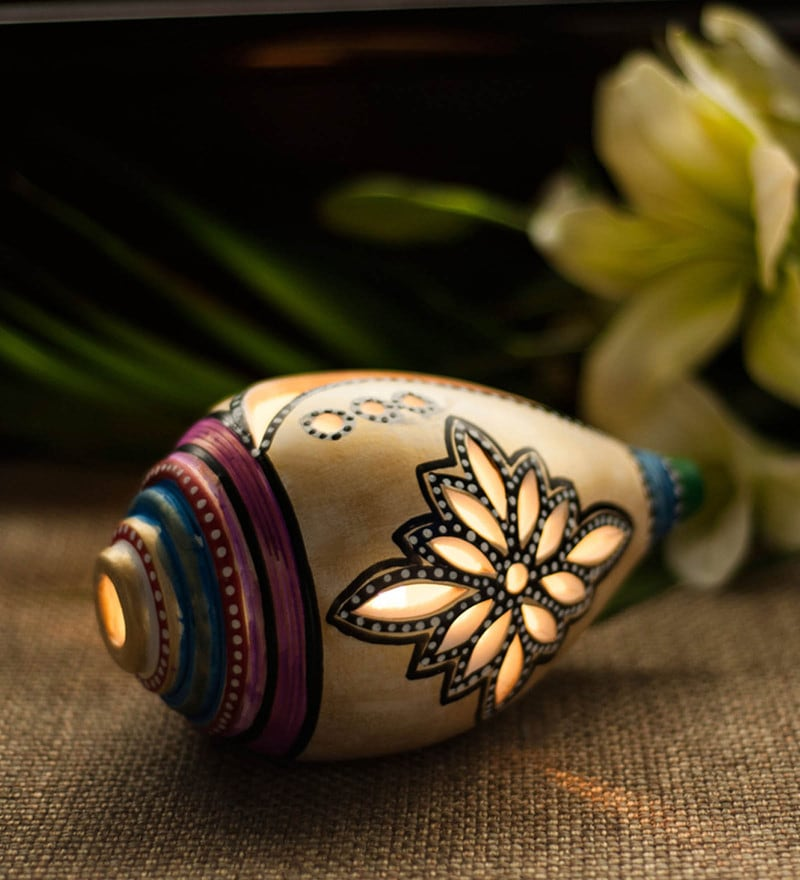 White & Gold Terracotta Handpainted Shankh Shaped Table Tea Light Holder by ExclusiveLane