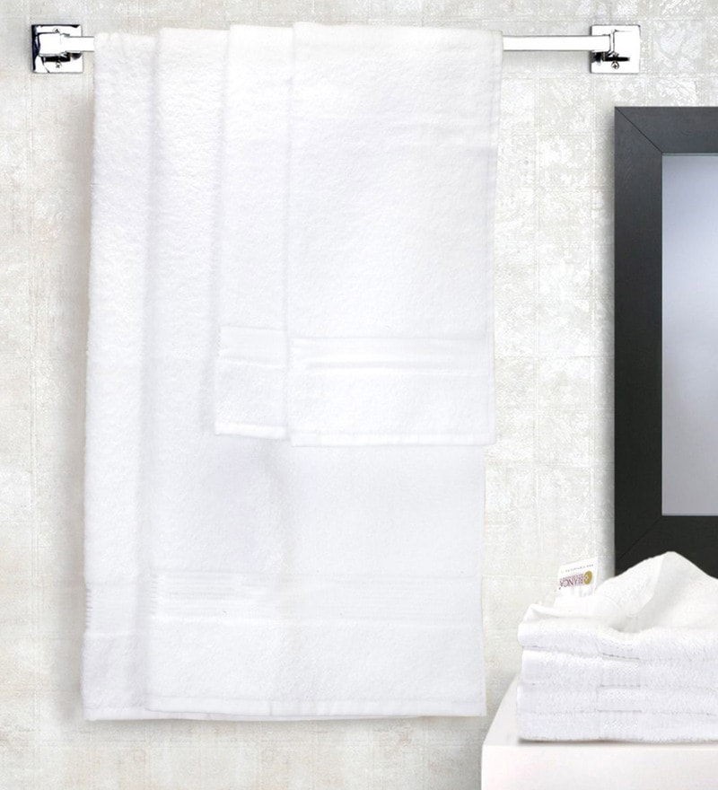 Buy White Microfiber 250 Gsm Kitchen Towel Set Of 3 By Bathe