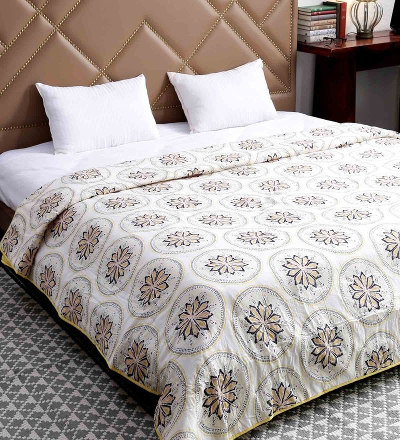 White 100% Cotton Queen Size Comforter By Solaj