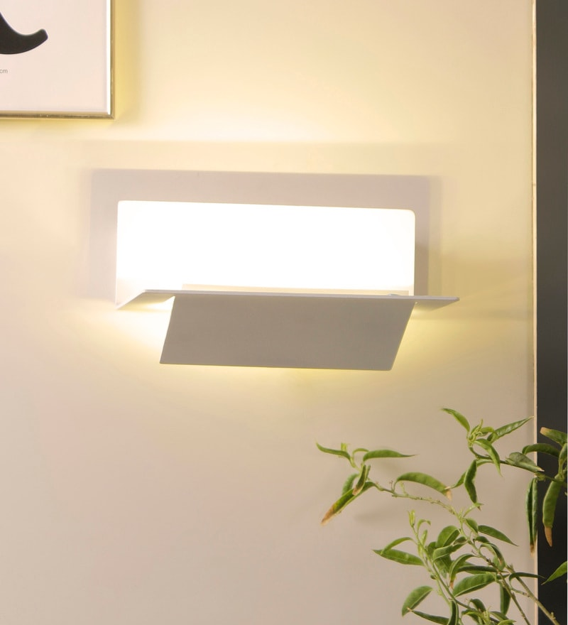 White Aluminium and Glass Wall Mounted Light by Jainsons Emporio