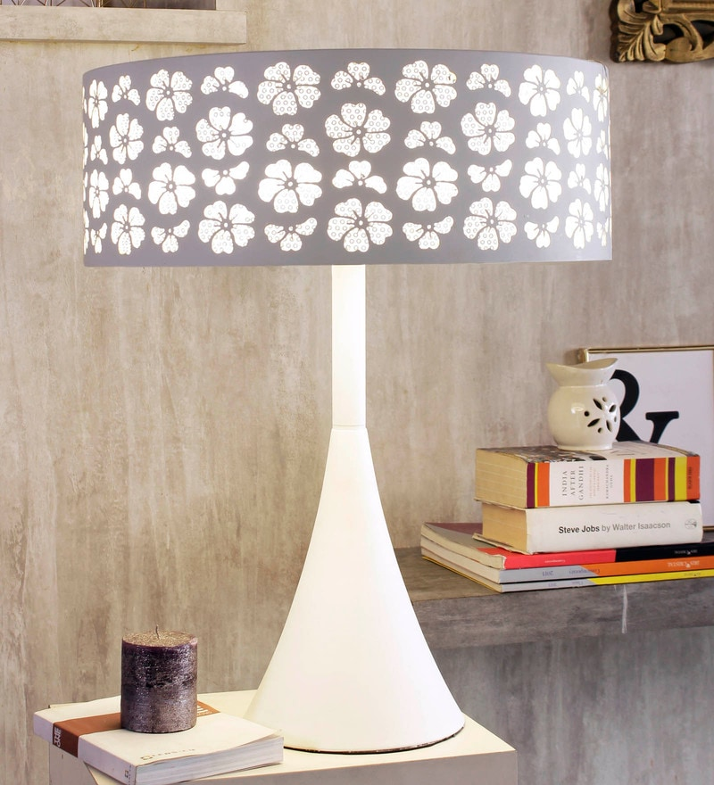 White Aluminium Floret Table Lamp by Jainsons Emporio