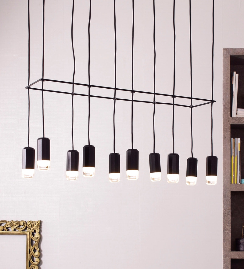 White and Black Aluminium and Glass Wireflow 10-Light Cluster Lamp by Jainsons Emporio