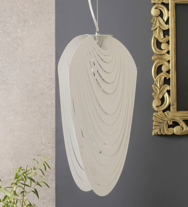 White and Silver Aluminium Pendant by Jainsons Emporio
