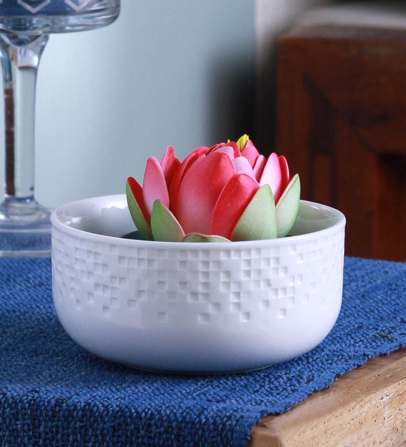 White Ceramic Flower Vase by Fourwalls