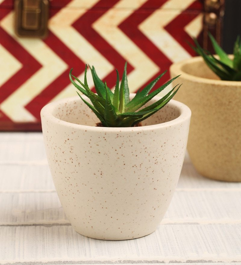 White Ceramic Table Top Planter by Decardo