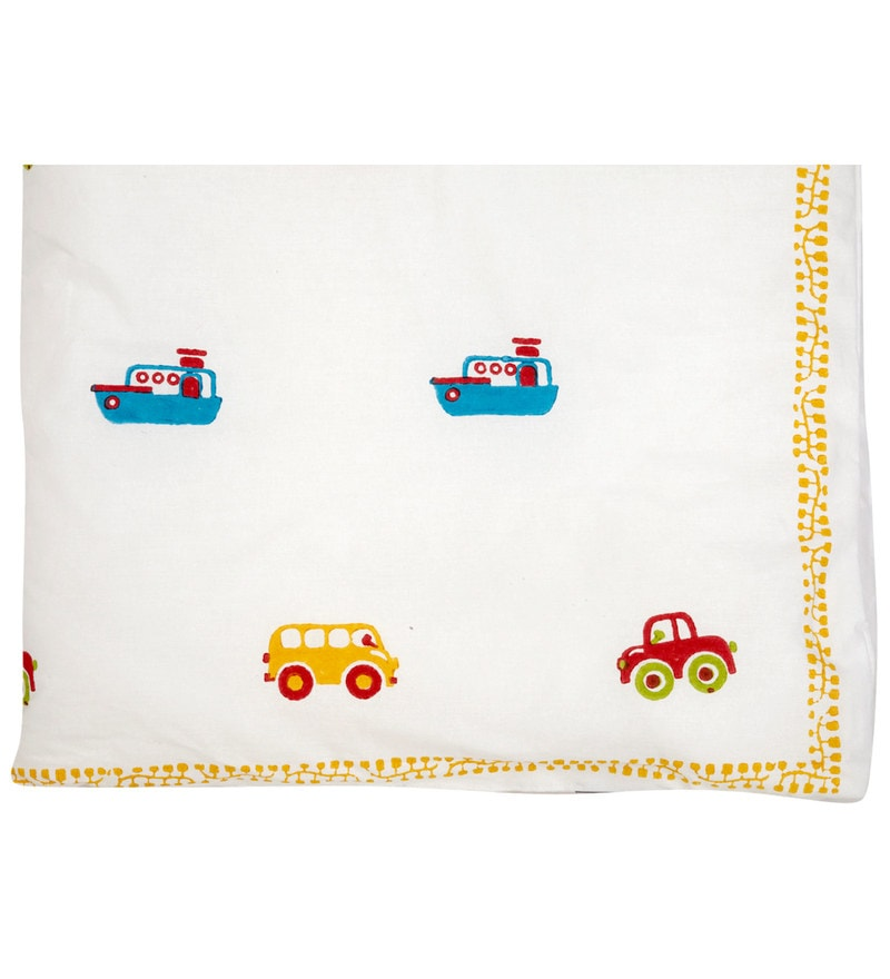 White Ships,Cars,Truck Print Baby Quilt in White Colour by Cocobee