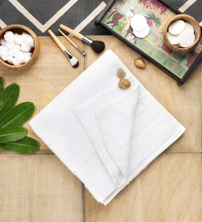 White Cotton 30 x 58 Inch Bath Towel by SWHF