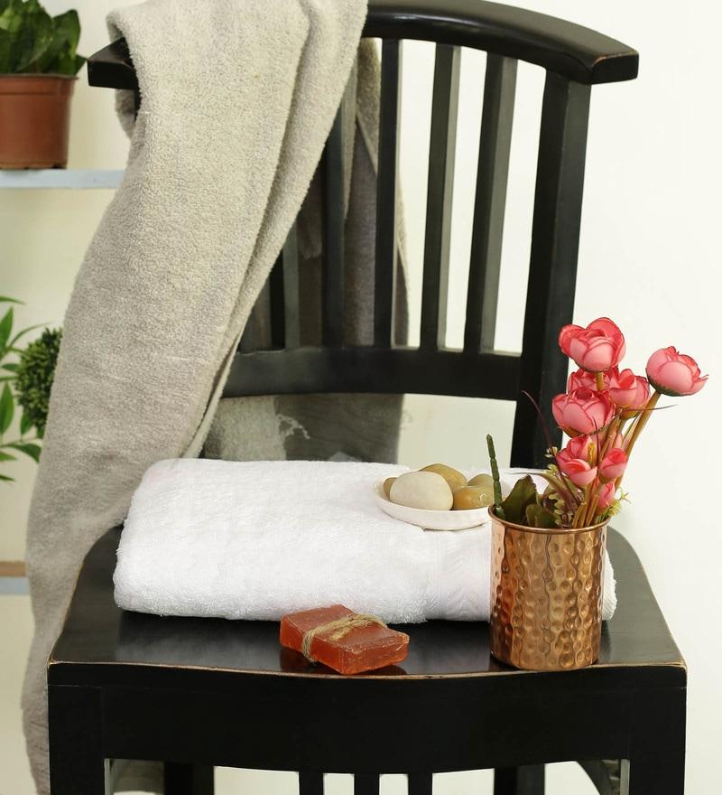 White Cotton 30 x 58 Inch Bath Towel by Turkish Bath