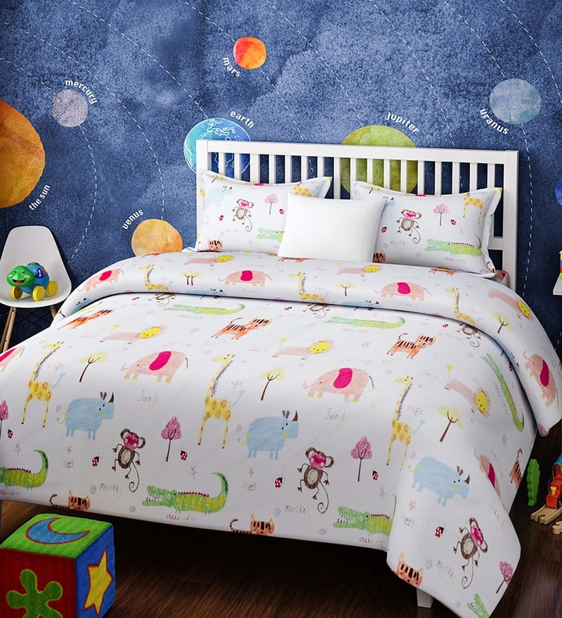 White Cotton Queen Size Crayon Sketch Animals Kids Bedsheet - Set of 3 by Rago