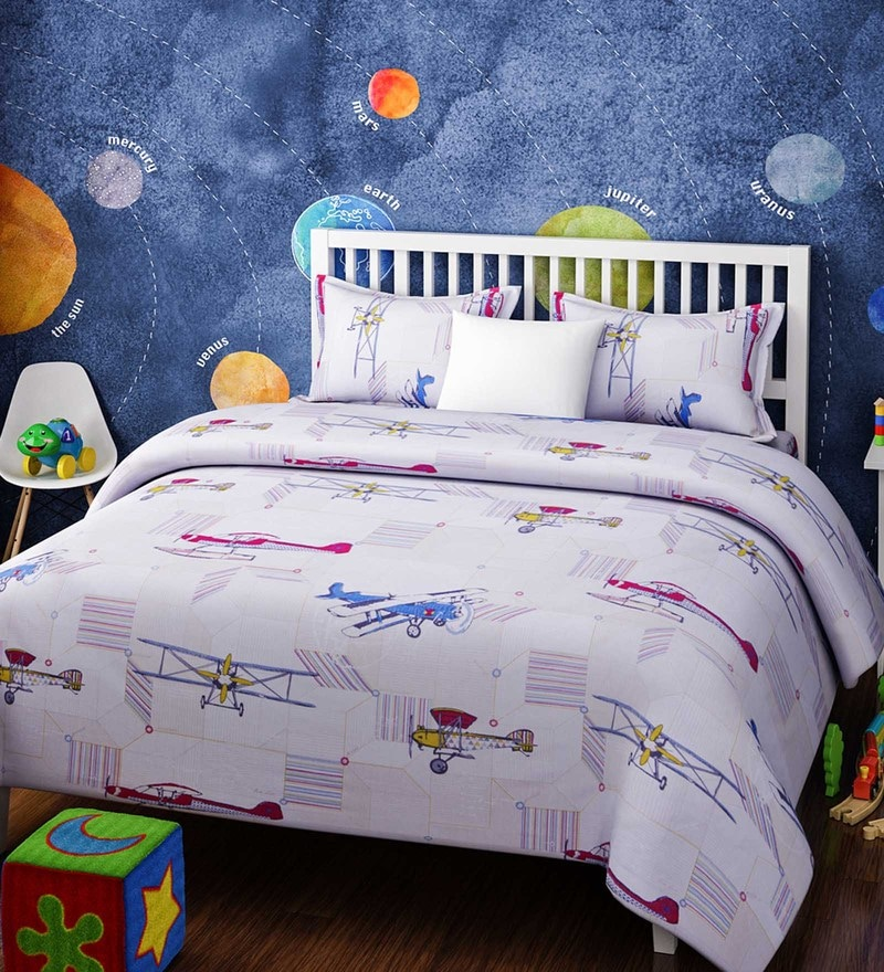 White Cotton Queen Size Planes Kids Bedsheet - Set of 3 by Rago