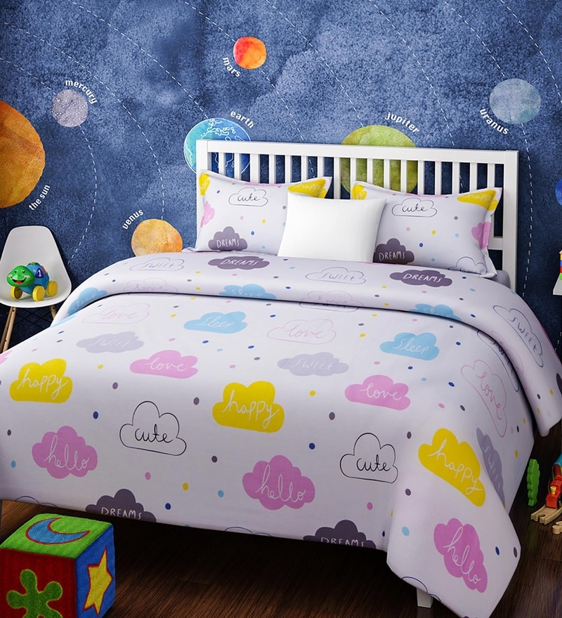 White Cotton Single Size Clouds Kids Bedsheet - Set of 2 by Rago