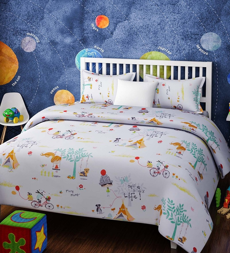 White Cotton Single Size Girl Hangout Kids Bedsheet - Set of 2 by Rago