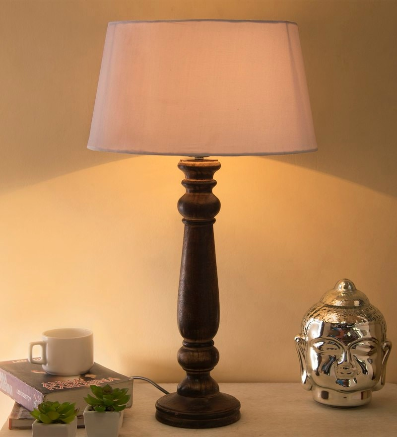 Aapno rajasthan handcrafted terracota lamp by aapno rajasthan white cotton table lamp by homesake mozeypictures Images