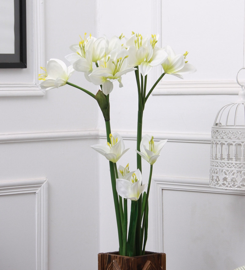 White Fabric & Plastic Artificial Lily Flower Stick by Fourwalls - Set of 2
