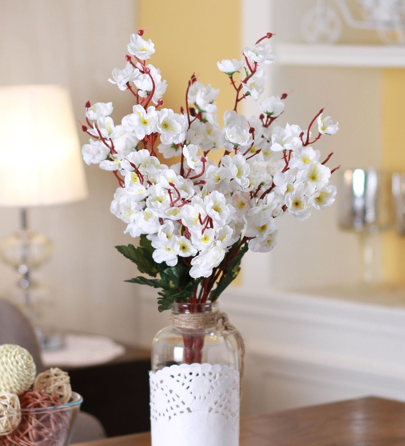 White Fabric & Plastic Artificial Peach Blossom Flower Bunch by Fourwalls - Set of 2