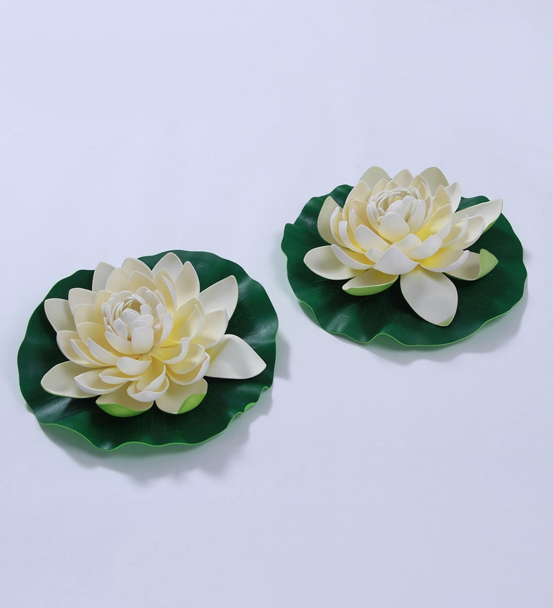 White Foam Artificial Lotus Flower by Fourwalls - Set of 2