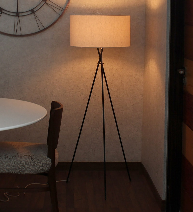 White Handloom Fabric with Acrylic Sheet Tripod Floor Lamp by Craftter