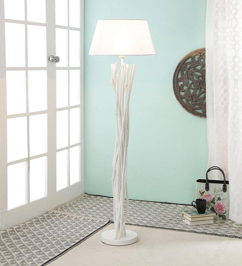 Buy white aluminium floor lamp by jainsons emporio online eclectic white jute floor lamp by tu casa aloadofball Image collections